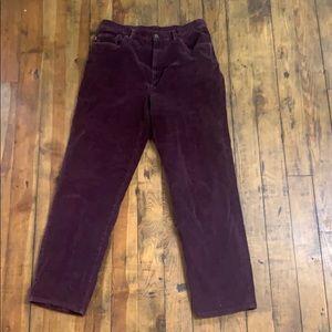 Lauren Jeans Co corduroy burgundy straight leg 12